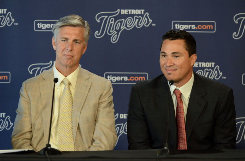 DETROIT, MI - JUNE 03: Detroit Tigers President, CEO & General Manager Dave Dombrowski and former Detroit Tigers outfielder Magglio Ordonez look on during a press conference to announce Magglio's retirement before the game between the Detroit Tigers and the New York Yankees at Comerica Park on June 3, 2012 in Detroit, Michigan. The Yankees defeated the Tigers 5-1. (Photo by Mark Cunningham/MLB Photos via Getty Images)