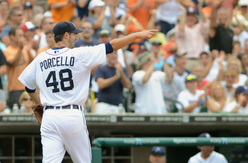 DETROIT, MI - Rick Porcello looks on and points during the game. (Photo by Mark Cunningham/MLB Photos via Getty Images)