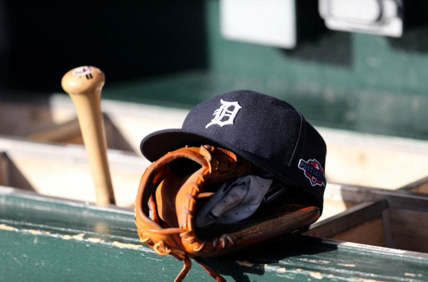 DETROIT, MI - OCTOBER 18: A detail of a Detroit Tigers hat with an official postseason logo is seen on the bat rack in the udgout againstthe New York Yankees during game four of the American League Championship Series at Comerica Park on October 18, 2012 in Detroit, Michigan. (Photo by Leon Halip/Getty Images)