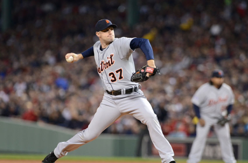 BOSTON, MA - OCTOBER 19: Max Scherzer #37 of the Detroit Tigers pitches during Game Six of the American League Championship Series against the Boston Red Sox at Fenway Park on October 19, 2013 in Boston, Massachusetts. The Red Sox defeated the Tigers 5-2 to clinch the ALCS in six games. (Photo by Mark Cunningham/MLB Photos via Getty Images)