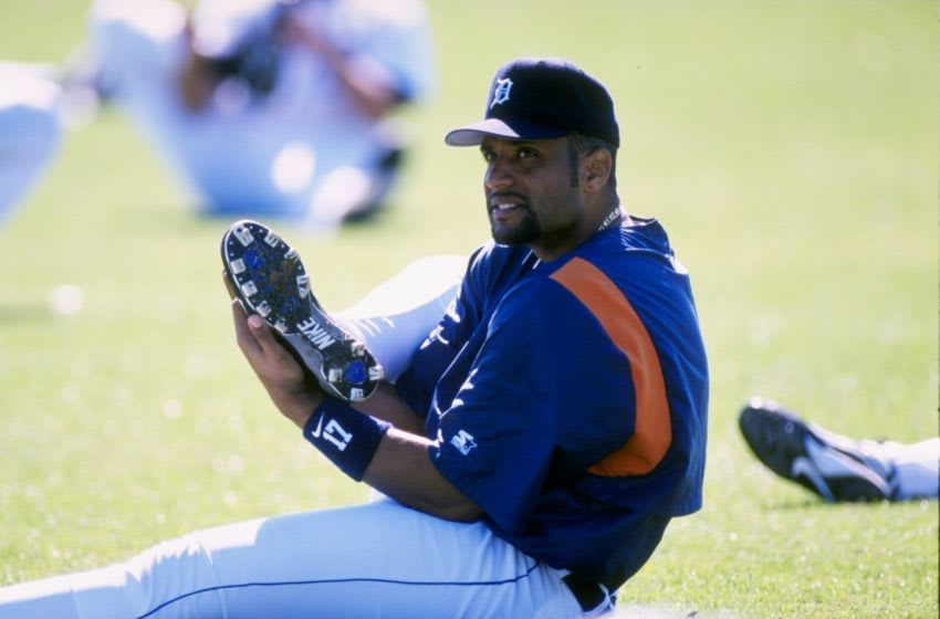 25 Feb 1998: Tony Clark #17 of the Detroit Tigers stretching during Spring Training at the Merchant Stadium in Lakeland, Florida.