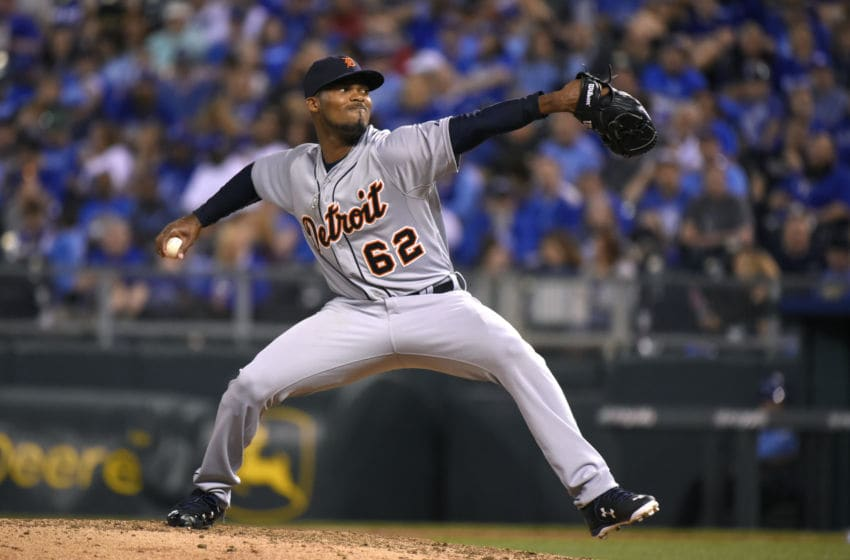 KANSAS CITY, MO - APRIL 30: Al Alburquerque #62 of the Detroit Tigers pitches in the seventh inning against the Kansas City Royals during a baseball game on April 30, 2015 at Kauffman Stadium in Kansas City, Missouri. (Photo by Ed Zurga/Getty Images)