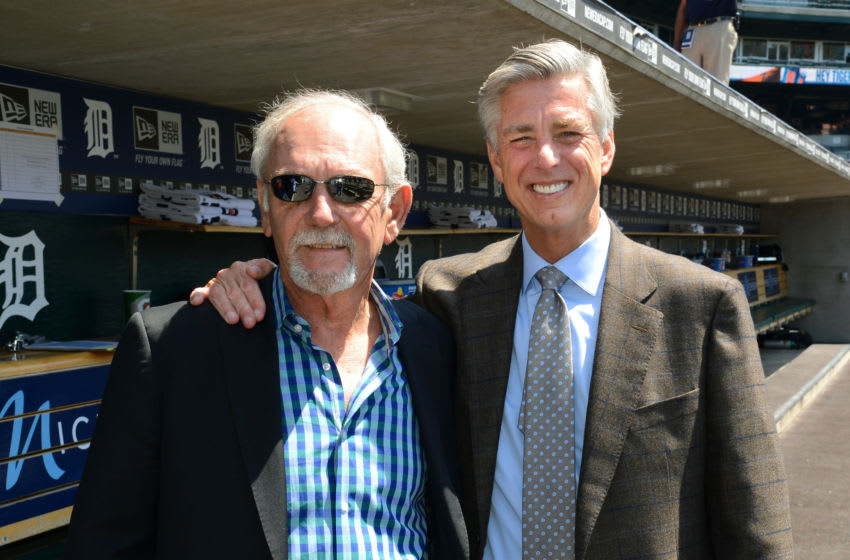 DETROIT, MI - MAY 10: Detroit Tigers President, General Manager and CEO Dave Dombrowski (R) and former Detroit Tigers manager Jim Leyland pose for a photo during a pre-game ceremony to honor Leyland prior to the game against the Minnesota Twins at Comerica Park on May 10, 2014 in Detroit, Michigan. The Tigers defeated the Twins 9-3. (Photo by Mark Cunningham/MLB Photos via Getty Images)