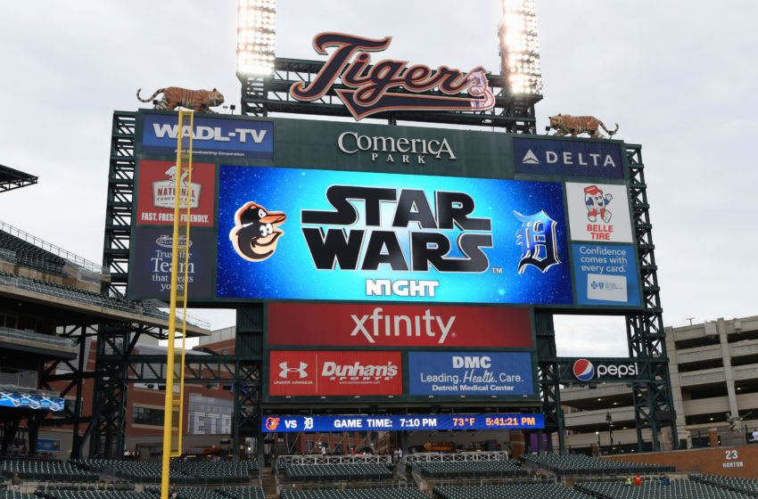 DETROIT, MI - The scoreboard displays a sign welcoming Detroit Tigers fans to Star Wars Night. (Photo by Mark Cunningham/MLB Photos via Getty Images)