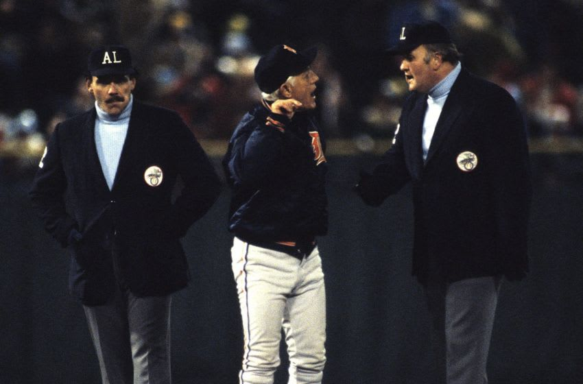 MILWAUKEE, WI - SEPTEMBER 1981: Manager Sparky Anderson of the Detroit Tigers arguing with an umpire during a MLB game against the Milwaukee Brewers in September 1982 in Milwaukee, Wisconsin. (Photo by Ronald C. Modra/Getty Images)