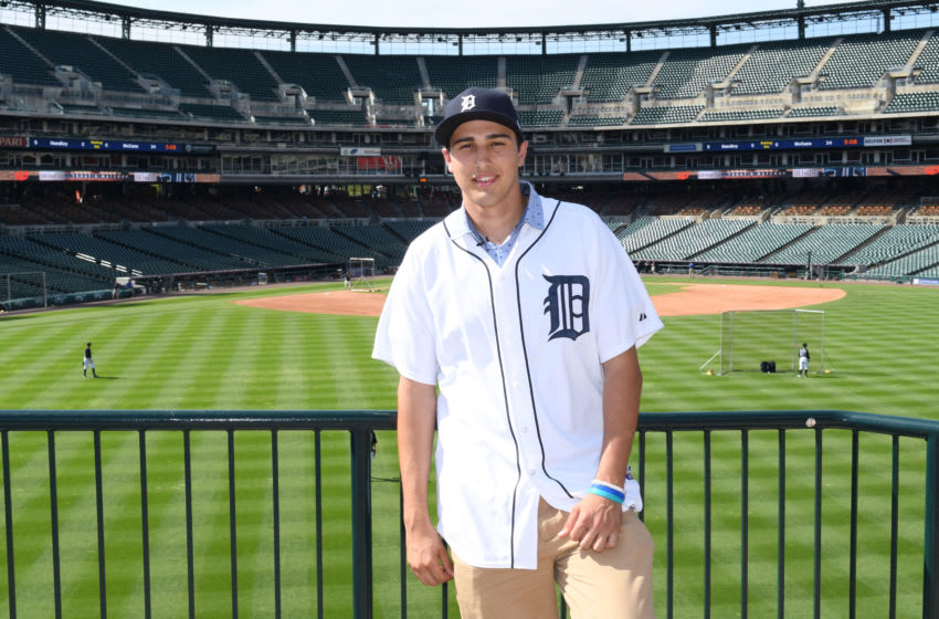 DETROIT, MI - JULY 05: The Detroit Tigers 2017 #1 draft pick Alex Faedo poses for a photo during his visit to Comerica Park prior to the game against the San Francisco Giants at Comerica Park on July 5, 2017 in Detroit, Michigan. The Giants defeated the Tigers 5-4. (Photo by Mark Cunningham/MLB Photos via Getty Images)