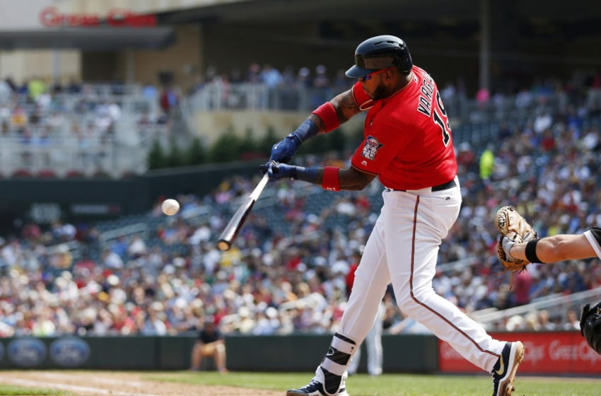 MINNEAPOLIS, MN - AUGUST 31: Kennys Vargas #19 of the Minnesota Twins bats against the Chicago White Sox in the fourth inning during of a baseball game on August 31, 2017, at Target Field in Minneapolis, Minnesota.(Photo by Andy King/Getty Images)