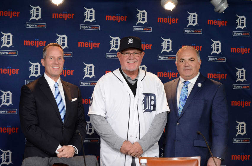 DETROIT, MI - OCTOBER 20: Detroit Tigers President and CEO Christopher Ilitch (L) and Tigers Executive Vice President of Baseball Operations & General Manager Al Avila (R) pose for a photo with new Tigers manager Ron Gardenhire during the press conference to announce the signing of Gardenhire at Comerica Park on October 20, 2017 in Detroit, Michigan. (Photo by Mark Cunningham/MLB Photos via Getty Images)
