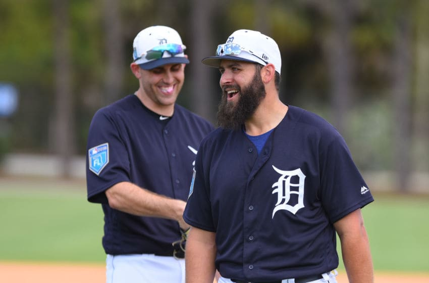 LAKELAND, FL - FEBRUARY 20: Matthew Boyd #48 (L) and Michael Fulmer #32 of the Detroit Tigers stand together on the field during Spring Training workouts at the TigerTown Facility on February 20, 2018 in Lakeland, Florida. (Photo by Mark Cunningham/MLB Photos via Getty Images)