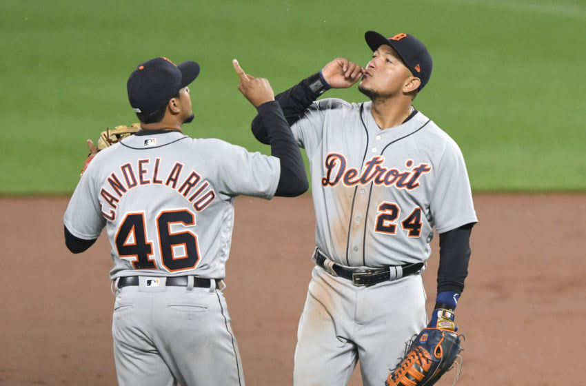 BALTIMORE, MD - APRIL 28: Jeimer Candelario #46 and Miguel Cabrera #24 of the Detroit Tigers celebrate a win during a baseball game against the Detroit Tigers at Oriole Park at Camden Yards on April 28, 2018 in Baltimore, Maryland. (Photo by Mitchell Layton/Getty Images)