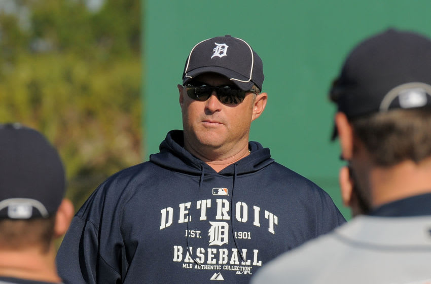 LAKELAND, FL - MARCH 19: Detroit Tigers minor league manager Phil Nevin speaks to players during spring training workouts at the TigerTown Facility on March 19, 2010 in Lakeland, Florida. (Photo by Mark Cunningham/MLB Photos via Getty Images)