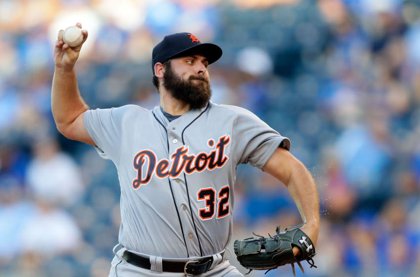 KANSAS CITY, MO - JULY 20: Starting pitcher Michael Fulmer #32 of the Detroit Tigers pitches during the 1st inning of the game against the Kansas City Royals at Kauffman Stadium on July 20, 2017 in Kansas City, Missouri. (Photo by Jamie Squire/Getty Images)