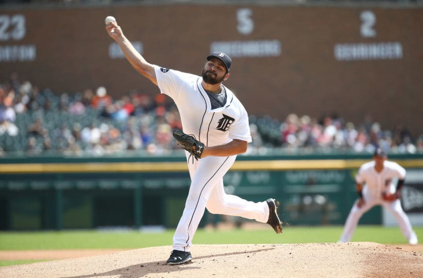 DETROIT, MI - AUGUST 24: Michael Fulmer #32 of the Detroit Tigers throws a first inning pitch while playing the New York Yankees at Comerica Park on August 24, 2017 in Detroit, Michigan. (Photo by Gregory Shamus/Getty Images)