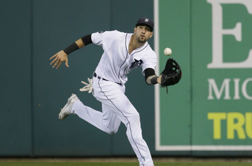 DETROIT, MI - SEPTEMBER 16: Right fielder Nicholas Castellanos #9 of the Detroit Tigers catches a fly ball hit by Yolmer Sanchez of the Chicago White Sox for an out during the seventh inning at Comerica Park on September 16, 2017 in Detroit, Michigan. (Photo by Duane Burleson/Getty Images)
