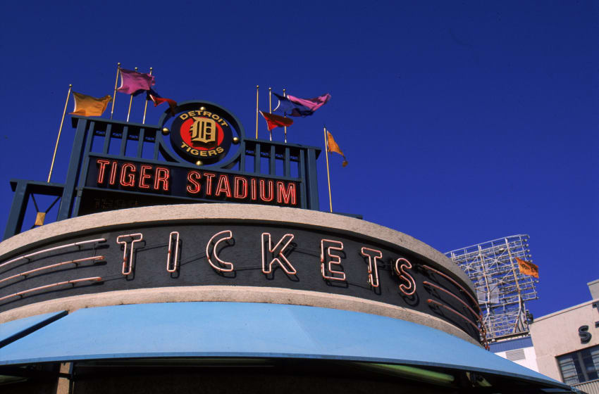 27 Sep 1999: A general view of the Tiger Stadium sign and ticket stand taken during the last game played at the Tiger Stadium against the Kansas City Royals in Detroit, Michigan. The Tigers defeated the Royals 8-2. Mandatory Credit: Ezra O. Shaw /Allsport