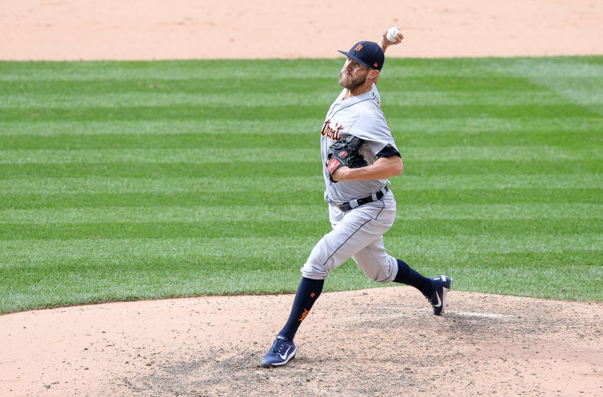 DENVER, CO - AUGUST 30: Shane Greene #61 of the Detroit Tigers pitches against the Colorado Rockies in the ninth inning of a game at Coors Field on August 30, 2017 in Denver, Colorado. (Photo by Dustin Bradford/Getty Images)