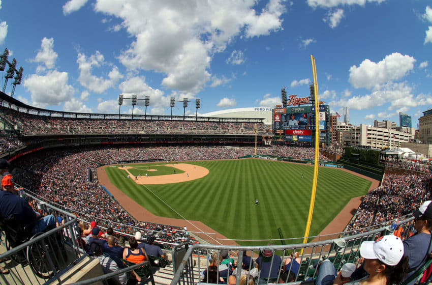 DETROIT, MI - JUNE 28: A wide view of Comerica Park during a MLB game between the Detroit Tigers and the Chicago White Sox on June 28, 2015 in Detroit, Michigan. The Tigers win on a walk off home run 5-4. (Photo by Dave Reginek/Getty Images)