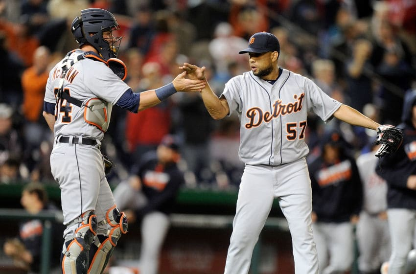 WASHINGTON, DC - MAY 10: Francisco Rodriguez #57 of the Detroit Tigers celebrates with James McCann #34 of the Detroit Tigers after a 5-4 victory against the Washington Nationals at Nationals Park on May 10, 2016 in Washington, DC. (Photo by Greg Fiume/Getty Images)