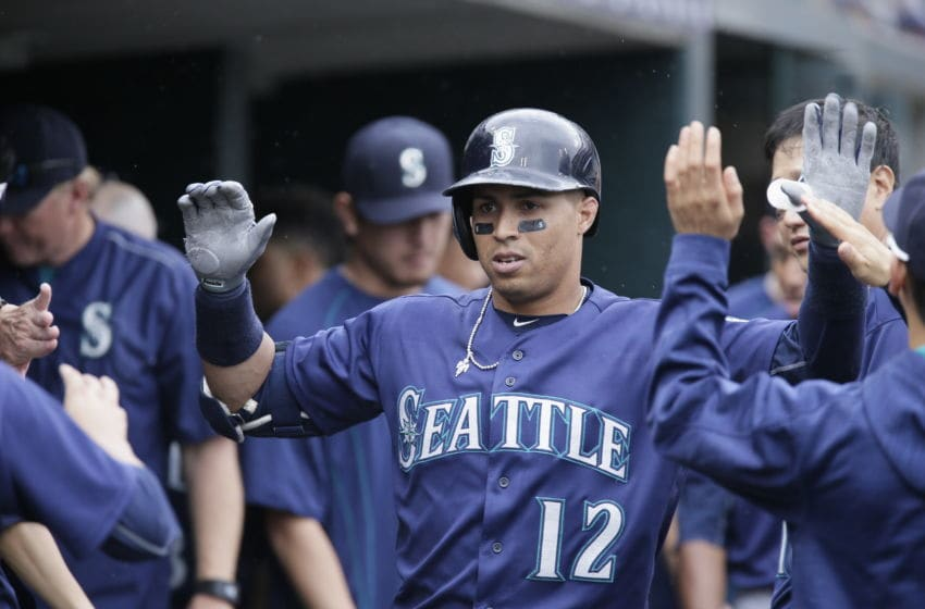 DETROIT, MI - JUNE 23: Leonys Martin #12 of the Seattle Mariners celebrates in the dugout after hitting a home run against the Detroit Tigers during the fifth inning at Comerica Park on June 23, 2016 in Detroit, Michigan. (Photo by Duane Burleson/Getty Images)