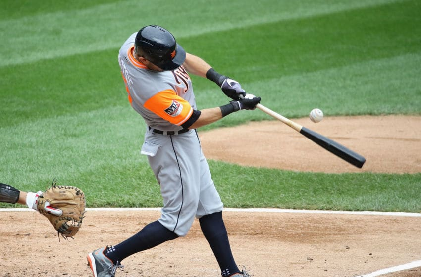 CHICAGO, IL - AUGUST 27: Ian Kinsler #3 of the Detroit Tigers batsl against the Chicago White Sox at Guaranteed Rate Field on August 27, 2017 in Chicago, Illinois. (Photo by Jonathan Daniel/Getty Images)