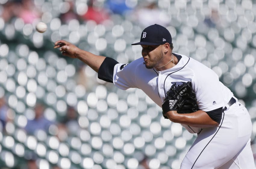 DETROIT, MI - SEPTEMBER 20: Joe Jimenez #77 of the Detroit Tigers pitches against the Oakland Athletics during the eighth inning at Comerica Park on September 20, 2017 in Detroit, Michigan. (Photo by Duane Burleson/Getty Images)