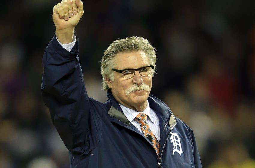 DETROIT, MI - OCTOBER 17: Former Detroit Tigers pitcher Jack Morris throws out the ceremonial first pitch prior to Game Five of the American League Championship Series between the Detroit Tigers and the Boston Red Sox at Comerica Park on October 17, 2013 in Detroit, Michigan. (Photo by Jamie Squire/Getty Images)