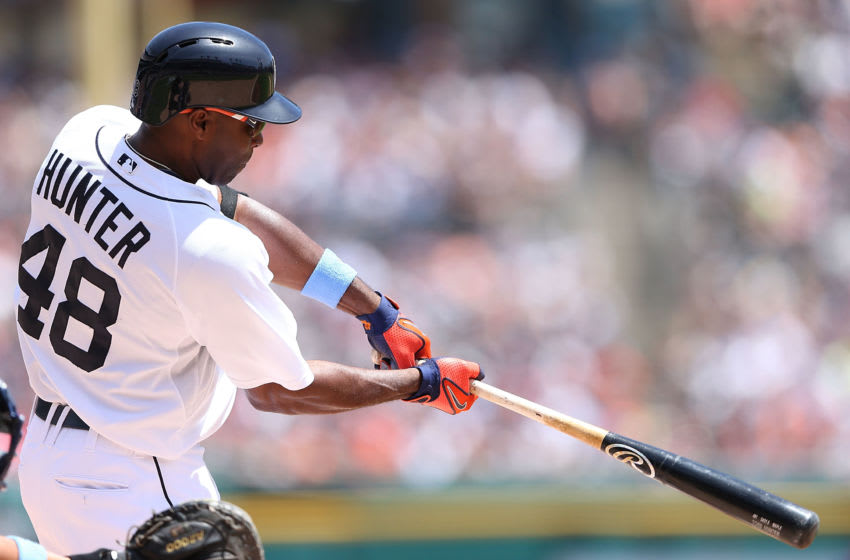 DETROIT, MI - JUNE 15: Torii Hunter #48 of the Detroit Tigers bats during the fifth inning of the game against the Minnesota Twins at Comerica Park on June 15, 2014 in Detroit, Michigan. The Tigers defeated the Twins 4-3. (Photo by Leon Halip/Getty Images)