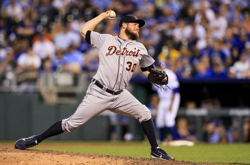 KANSAS CITY, MO - MAY 30: Alex Wilson #30 of the Detroit Tigers pitches against the Kansas City Royals during the game at Kauffman Stadium on May 30, 2017 in Kansas City, Missouri. (Photo by Brian Davidson/Getty Images)