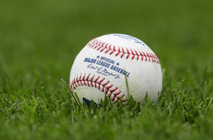 KANSAS CITY, MO - SEPTEMBER 27: A baseball sits on the field before the game between the Detroit Tigers and the Kansas City Royals at Kauffman Stadium on September 27, 2017 in Kansas City, Missouri. (Photo by Brian Davidson/Getty Images)