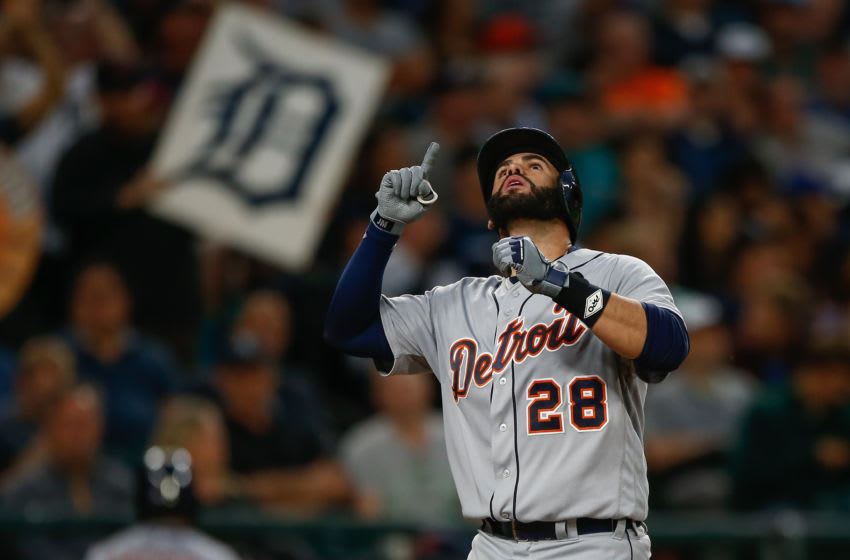 SEATTLE, WA - AUGUST 09: J.D. Martinez #28 of the Detroit Tigers gestures as he crosses home plate following a solo home run against the Seattle Mariners in the fifth inning at Safeco Field on August 9, 2016 in Seattle, Washington. (Photo by Otto Greule Jr/Getty Images)