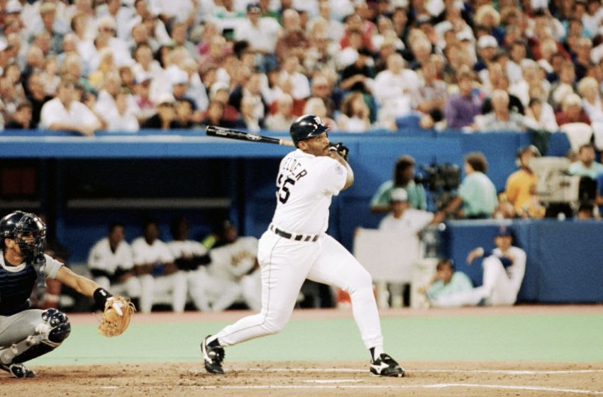 TORONTO - JULY 9: Cecil Fielder #45 of the Detroit Tigers bats during the1991 All-Star Game at the Toronto Sky Dome on July 9, 1991 in Toronto, Ontario, Canada. (Photo by Rick Stewart/Getty Images)