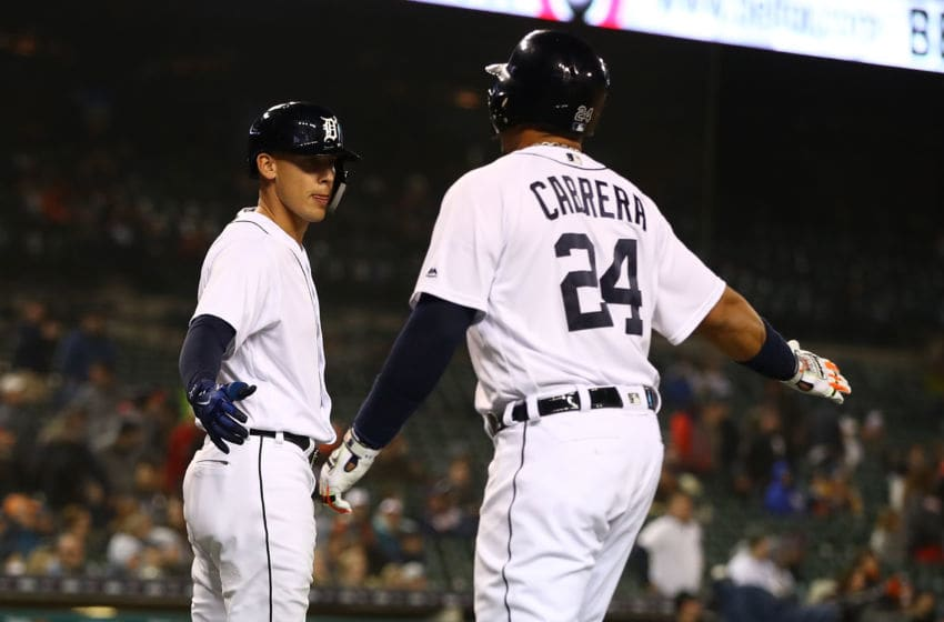 DETROIT, MI - APRIL 13: Miguel Cabrera #24 of the Detroit Tigers celebrates scoring a eighth inning run with JaCoby Jones #21 while playing the New York Yankees at Comerica Park on April 13, 2018 in Detroit, Michigan. New York won the game 8-6. (Photo by Gregory Shamus/Getty Images)