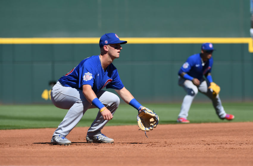 GOODYEAR, ARIZONA - MARCH 07: Zack Short #76 of the Chicago Cubs gets ready to make a play at third base during a spring training game against the Cleveland Indians at Goodyear Ballpark on March 07, 2020 in Goodyear, Arizona. (Photo by Norm Hall/Getty Images)