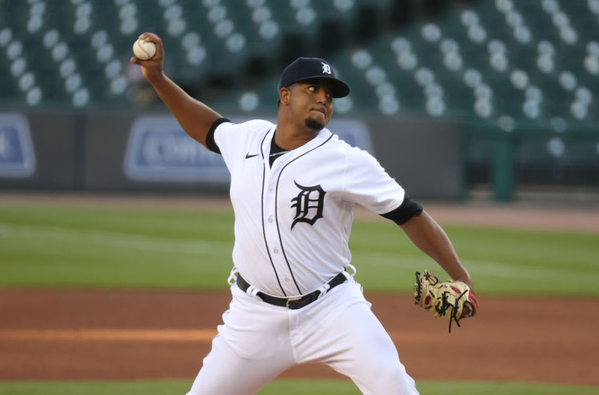 DETROIT, MICHIGAN - JULY 28: Rony Garcia #51 of the Detroit Tigers throws a first inning pitch while playing the Kansas City Royals at Comerica Park on July 28, 2020 in Detroit, Michigan. (Photo by Gregory Shamus/Getty Images)