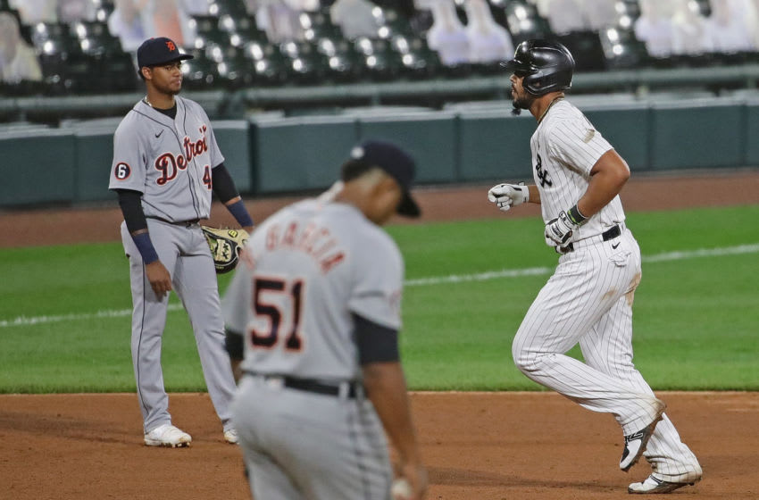 CHICAGO, ILLINOIS - SEPTEMBER 12: Jose Abreu #79 of the Chicago White Sox runs the bases after hitting a three run home run off of Rony Garcia #51 of the Detroit Tigers in the 5th inning at Guaranteed Rate Field on September 12, 2020 in Chicago, Illinois. (Photo by Jonathan Daniel/Getty Images)