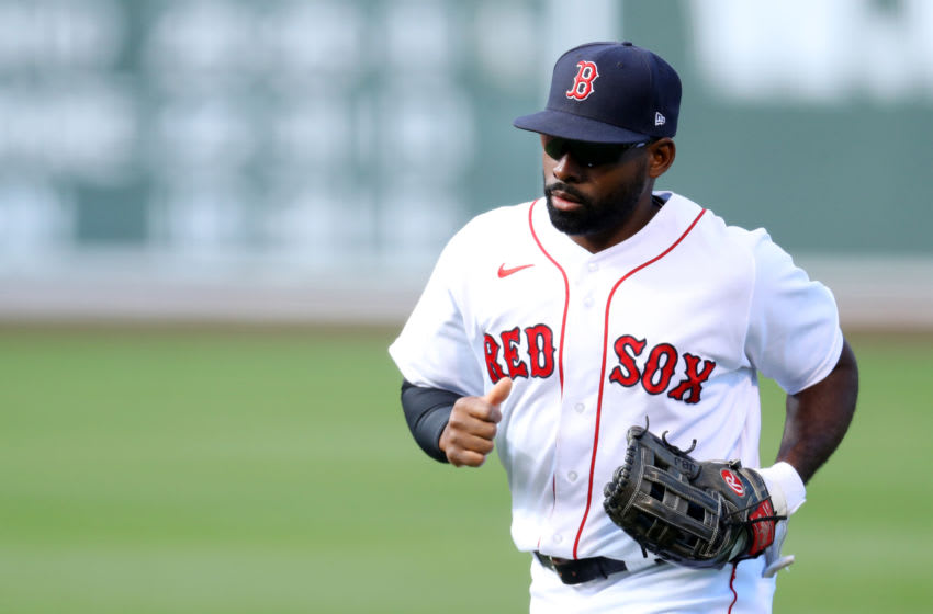 BOSTON, MASSACHUSETTS - SEPTEMBER 20: Jackie Bradley Jr. #19 of the Boston Red Sox returns to the dugout during the seventh inning against the New York Yankees at Fenway Park on September 20, 2020 in Boston, Massachusetts. (Photo by Maddie Meyer/Getty Images)