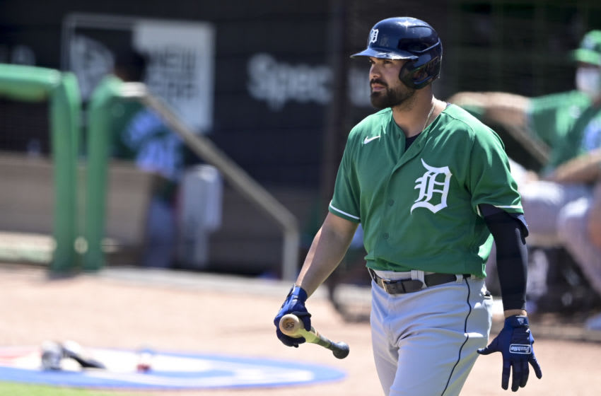 CLEARWATER, FLORIDA - MARCH 17: Renato Núñez #55 of the Detroit Tigers walks to the plate during the first inning against the Philadelphia Phillies during a spring training game at BayCare Ballpark on March 17, 2021 in Clearwater, Florida. (Photo by Douglas P. DeFelice/Getty Images)