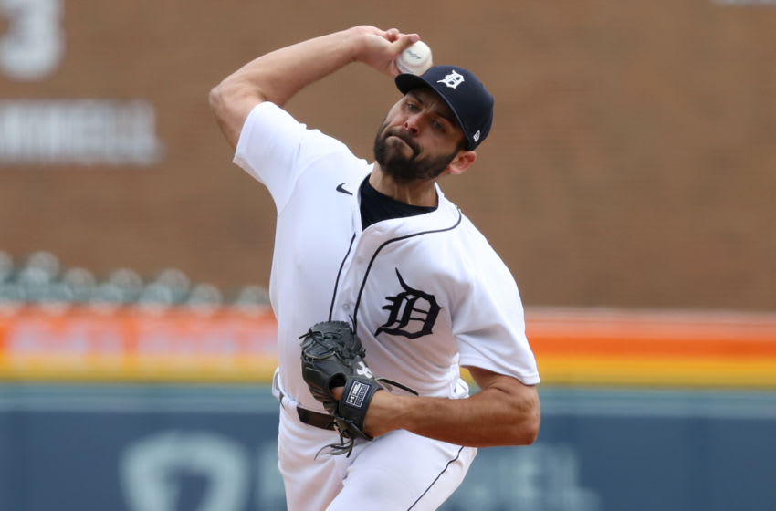 DETROIT, MICHIGAN - APRIL 21: Michael Fulmer #32 of the Detroit Tigers throws a fourth inning pitch against the Pittsburgh Pirates at Comerica Park during game one of a double header on April 21, 2021 in Detroit, Michigan. (Photo by Gregory Shamus/Getty Images)