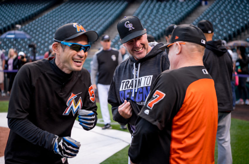 DENVER, CO - SEPTEMBER 25: First base coach Perry Hill #7 and Ichiro Suzuki #51 of the Miami Marlins laugh with Mike Redmond #11 of the Colorado Rockies before the game at Coors Field on September 25, 2017 in Denver, Colorado. (Photo by Rob Foldy/Miami Marlins)via Getty Images)
