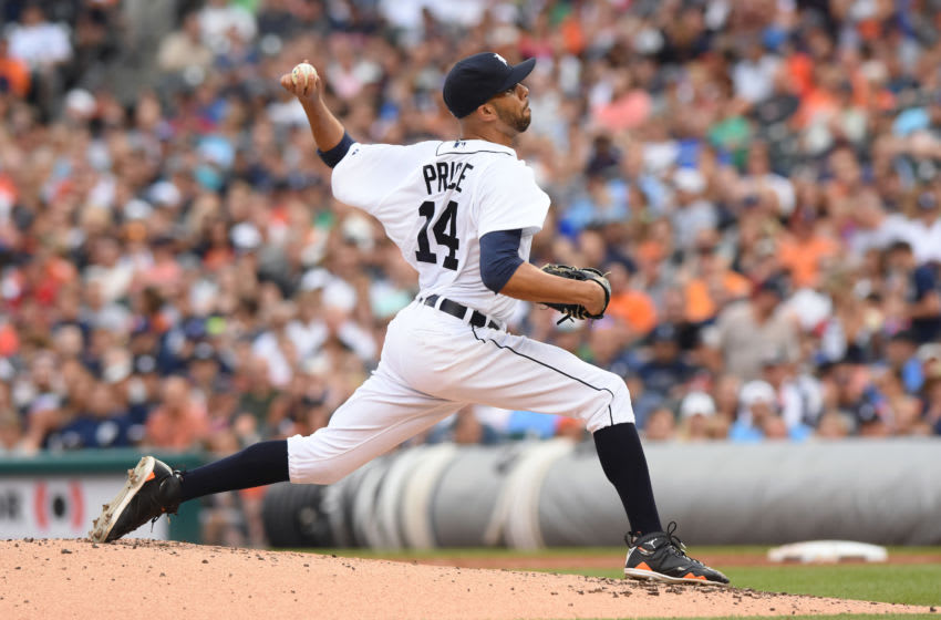 DETROIT, MI - JULY 18: David Price #14 of the Detroit Tigers pitches during the game against the Baltimore Orioles at Comerica Park on July 18, 2015 in Detroit, Michigan. The Orioles defeated the Tigers 3-0. (Photo by Mark Cunningham/MLB Photos via Getty Images)