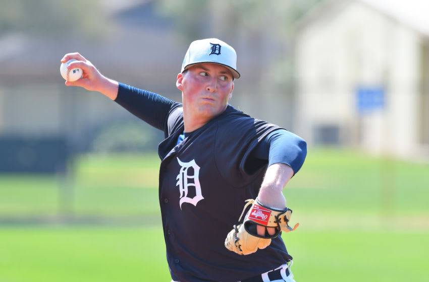 LAKELAND, FL - FEBRUARY 19: Kyle Funkhouser #76 of the Detroit Tigers pitches during Spring Training workouts at the TigerTown Facility on February 19, 2019 in Lakeland, Florida. (Photo by Mark Cunningham/MLB Photos via Getty Images)
