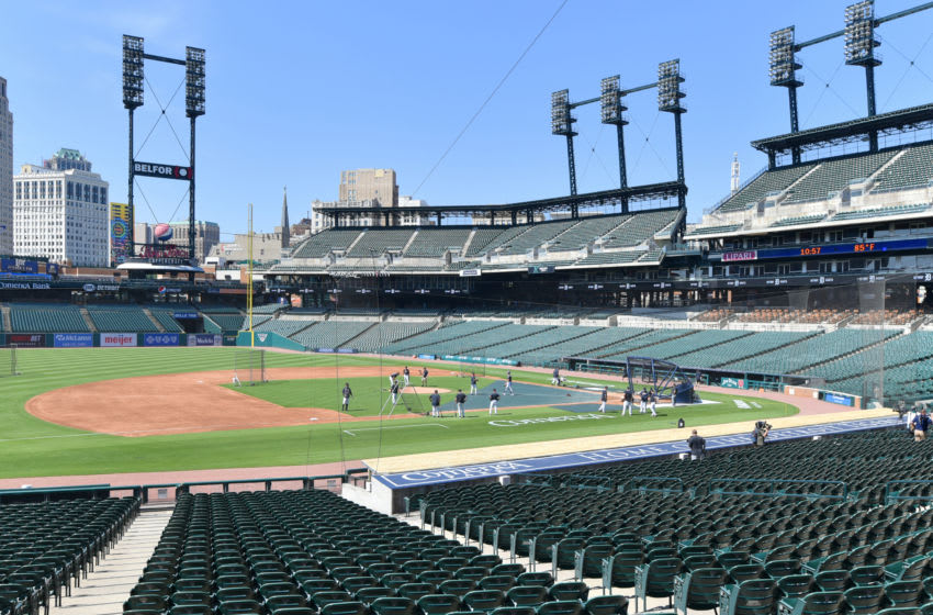 DETROIT, MI - JULY 03: A general view of Comerica Park while players practice during the Detroit Tigers Summer Workouts at Comerica Park on July 3, 2020 in Detroit, Michigan. (Photo by Mark Cunningham/MLB Photos via Getty Images)