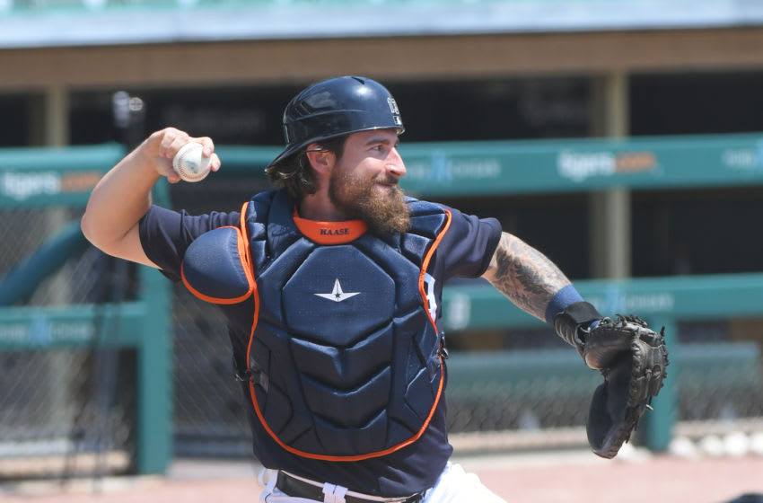 DETROIT, MI - JULY 06: Eric Haase #13 of the Detroit Tigers throws a baseball during the Detroit Tigers Summer Workouts at Comerica Park on July 6, 2020 in Detroit, Michigan. (Photo by Mark Cunningham/MLB Photos via Getty Images)