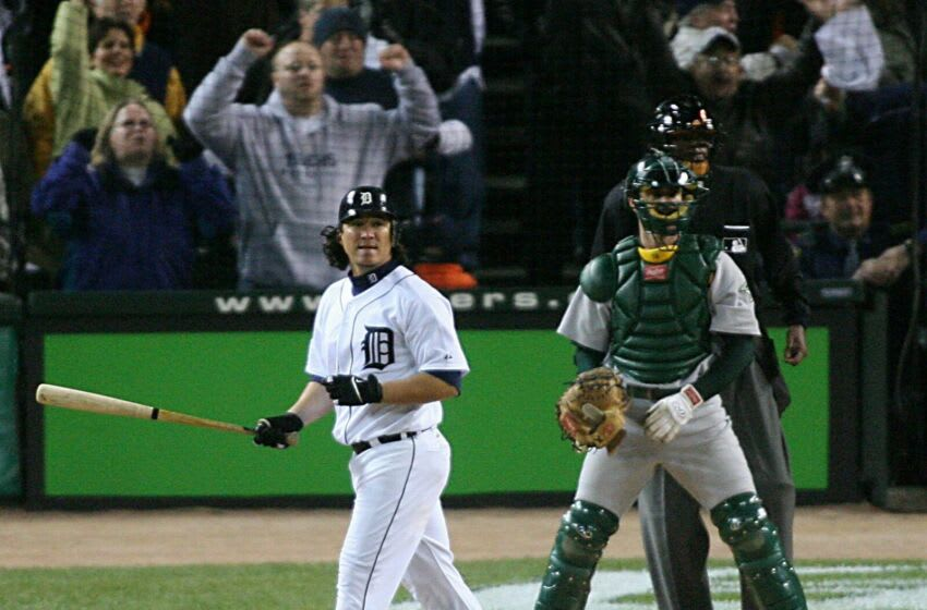 Tigers outfielder Magglio Ordonez hits a 3-run, walk-off home run to defeat the Athletics, 6-3, in Game 4 of the American League Championship Series at Comerica Park on Saturday, Oct. 14, 2006. Tigers 101406 Al12a