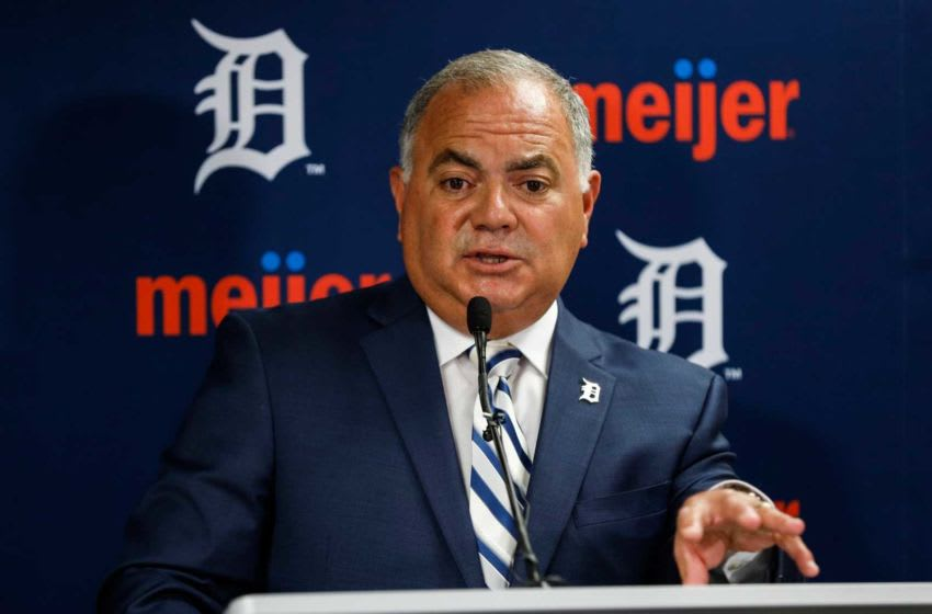 Tigers general manager Al Avila answers questions during a press conference at Comerica Park in Detroit on July 5, 2019. 07052019 Alavila 1