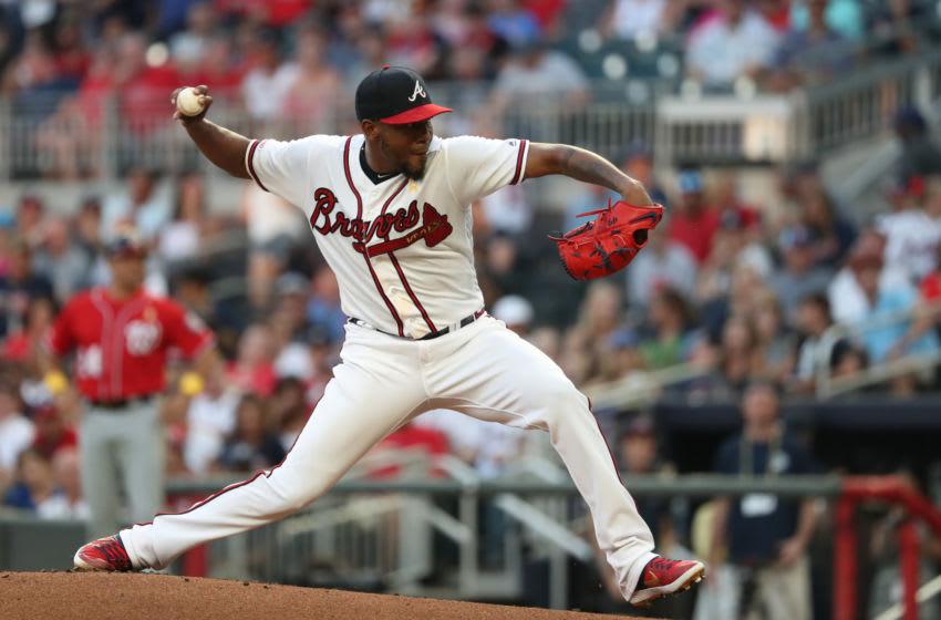 Sep 7, 2019; Atlanta, GA, USA; Atlanta Braves starting pitcher Julio Teheran delivers a pitch. Jason Getz-USA TODAY Sports