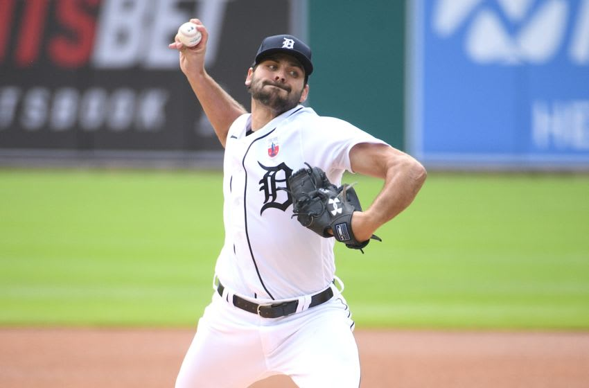 Aug 16, 2020; Detroit, Michigan, USA; Detroit Tigers starting pitcher Michael Fulmer (32) pitches during the first inning against the Cleveland Indians at Comerica Park. Mandatory Credit: Tim Fuller-USA TODAY Sports