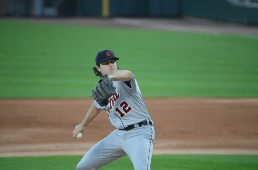 Detroit Tigers starter Casey Mize (12) pitches against the Chicago White Sox at Guaranteed Rate Field, Wednesday, Aug. 19, 2020 in his MLB debut. Tigers