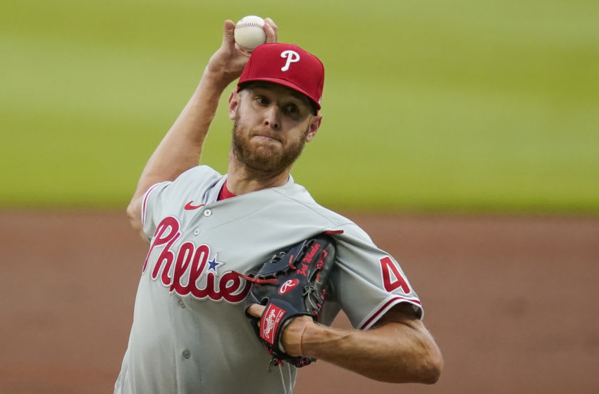 Aug 22, 2020; Cumberland, Georgia, USA; Philadelphia Phillies starting pitcher Zack Wheeler (45) pitches against the Atlanta Braves during the first inning at Truist Park. Mandatory Credit: Dale Zanine-USA TODAY Sports