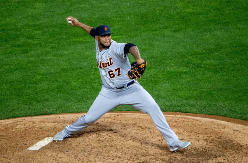 Sep 22, 2020; Minneapolis, Minnesota, USA; Detroit Tigers relief pitcher Jose Cisnero (67) delivers a pitch in the fourth inning against the Minnesota Twins at Target Field. Mandatory Credit: Jesse Johnson-USA TODAY Sports
